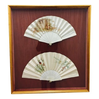 Antique Framed Fans in Shadow Box For Sale