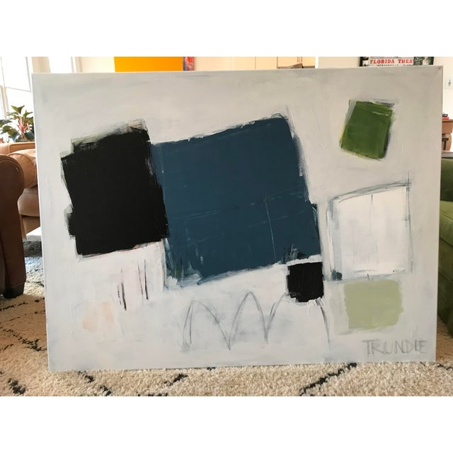 Bold shapes emerge from a layered white background.edges painted pale grey, back wired, ready to hang. 36 x 48 x .75