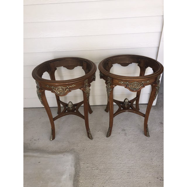 French Ormolu Mounted Side Marble Tables - a Pair For Sale - Image 12 of 13