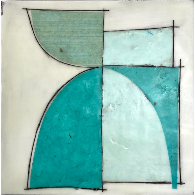 """""""Elsewhere"""" Original Encaustic Collage Installation by Gina Cochran - Blue and Teal - 16 Panels For Sale - Image 10 of 13"""