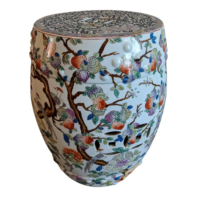 1980s Chinese Bird and Floral Detailed Enameled Porcelain Garden Stool For Sale