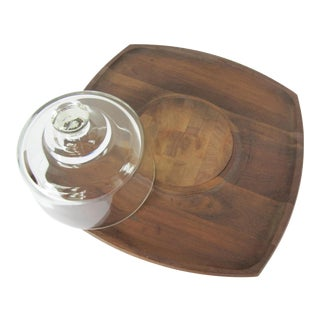 Vintage Teak Cheese Board With Glass Dome For Sale