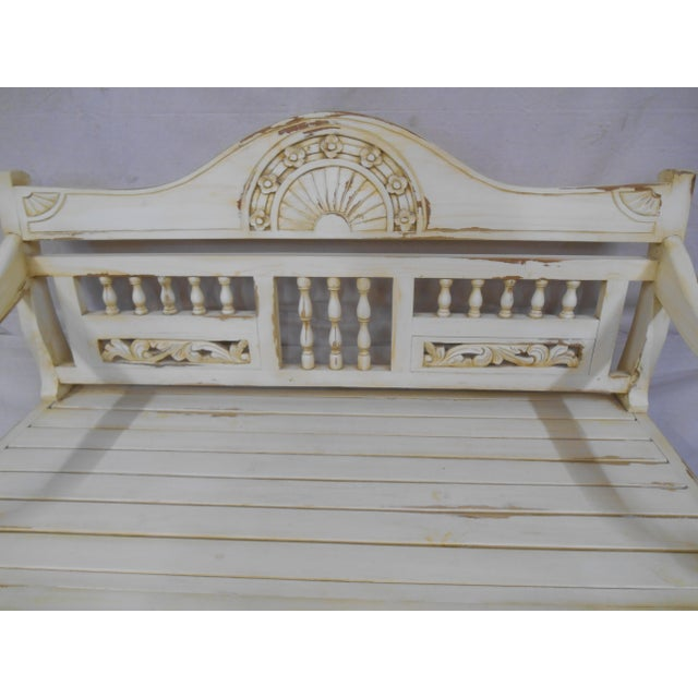1990s Late 20th Century Painted and Distressed French Country Garden Bench For Sale - Image 5 of 13
