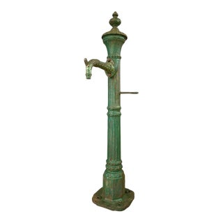 Antique Tall Green Cast Iron Water Fountain From San Francisco, C. 1860 For Sale
