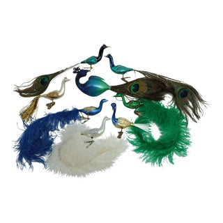 Peacock Blown Glass Christmas Ornaments - Set of 8 For Sale