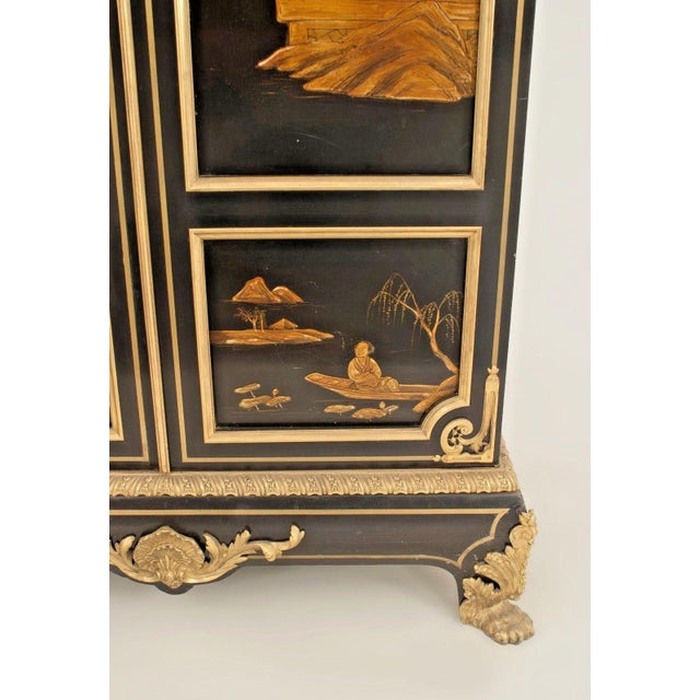 French Victorian Chinoiserie Decorated Armoire Cabinet For Sale - Image 10 of 11