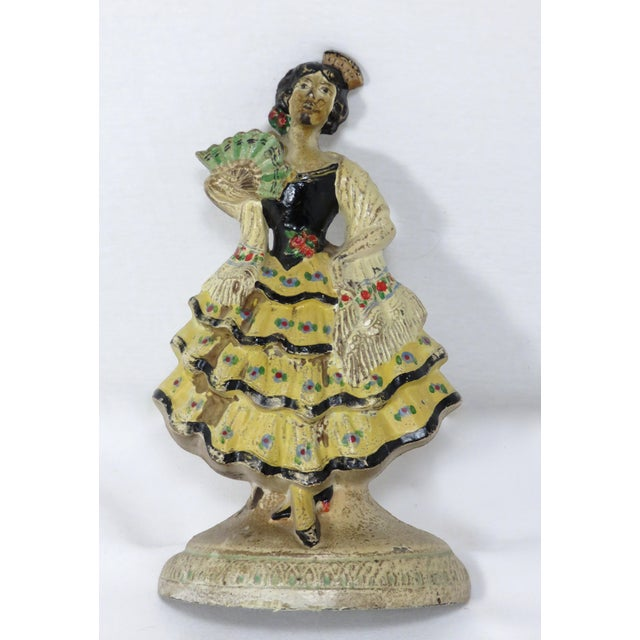 1920s Spanish Cast Iron Dancer Doorstop For Sale - Image 9 of 13