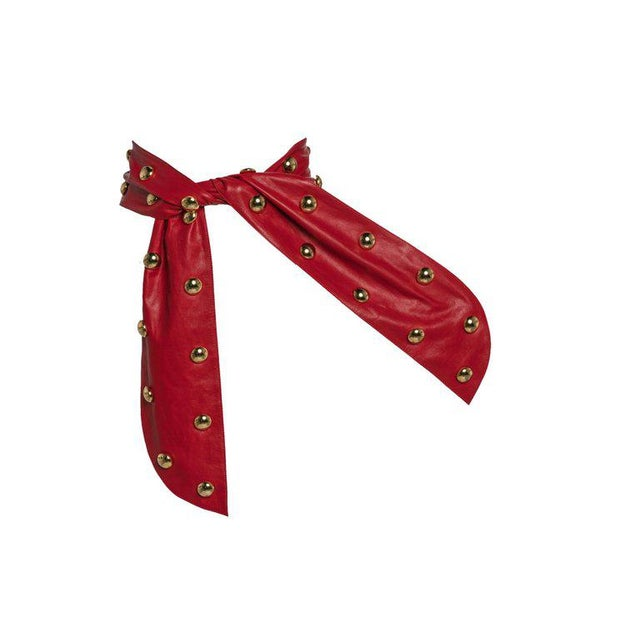 1980s 1980s Yves Saint Laurent Red Leather Gold Stud Sash Belt For Sale - Image 5 of 9