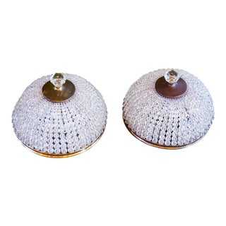 Pair French Beaded Crystal Flush Mount Lights, circa 1900 For Sale