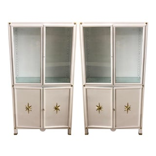 Superb Pair of Vintage Metal Dental Cabinets - Restored For Sale