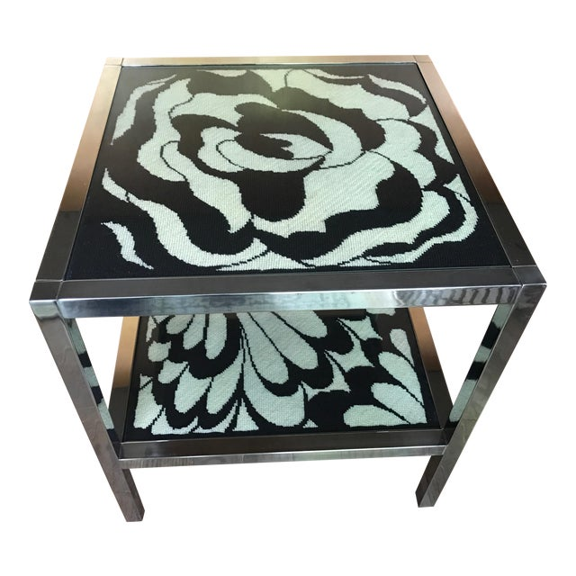 Mastercraft Chrome and Custom Pucci Style Needlepoint 1960's Side Table - Image 1 of 9