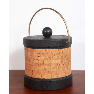 Vintage Mid Century Modern Cork & Black Vinyl Ice Bucket Preview