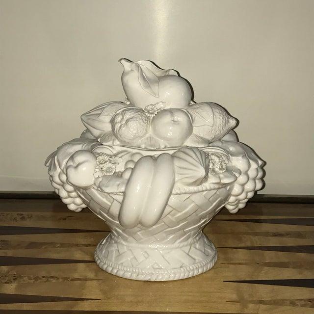 Italian White Ceramic Fruit Basket Centerpiece For Sale - Image 12 of 12