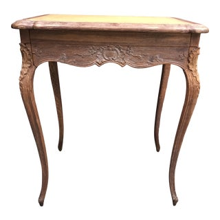 Antique Country French Leather Top Writing Table For Sale