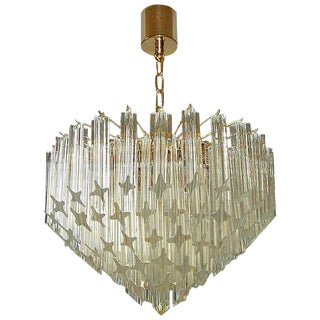 1970s Italian Quatro Punta Crystal Prism Chandelier For Sale