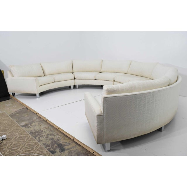 Large Milo Baughman White Upholstered Four Section Circular Sofa For Sale - Image 10 of 13