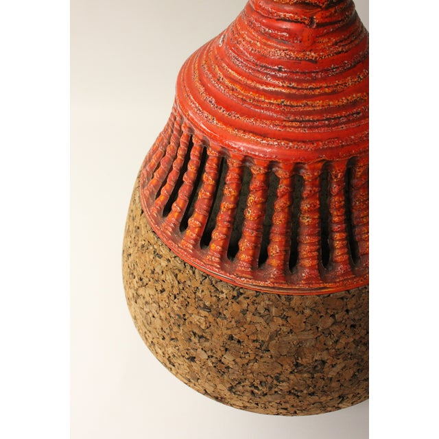 Cork & Pottery Table Lamp For Sale - Image 4 of 7