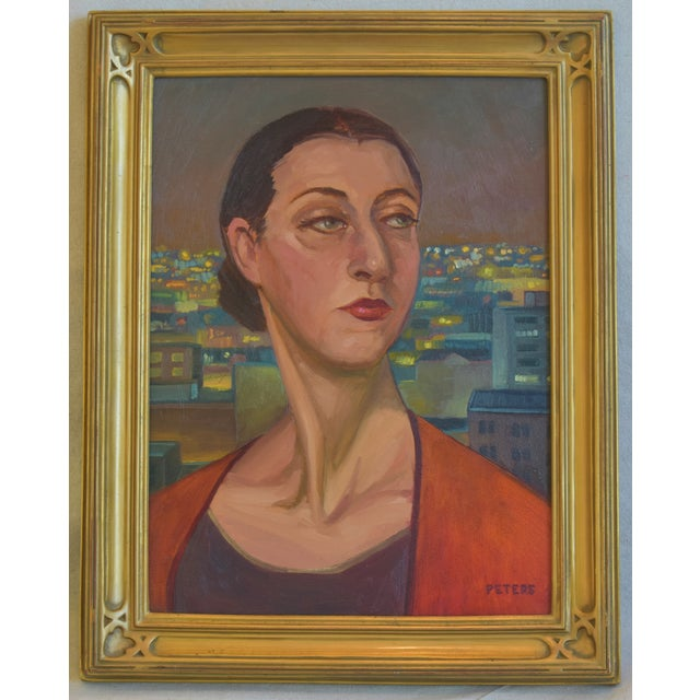 """Blue Artist Tony Peters Female Portrait """"Off Broadway"""" Framed Oil Painting For Sale - Image 8 of 9"""
