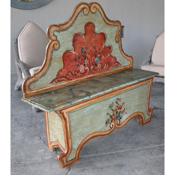 A Fanciful Venetian Baroque Style Pine Polychromed Highback Bench For Sale - Image 4 of 10