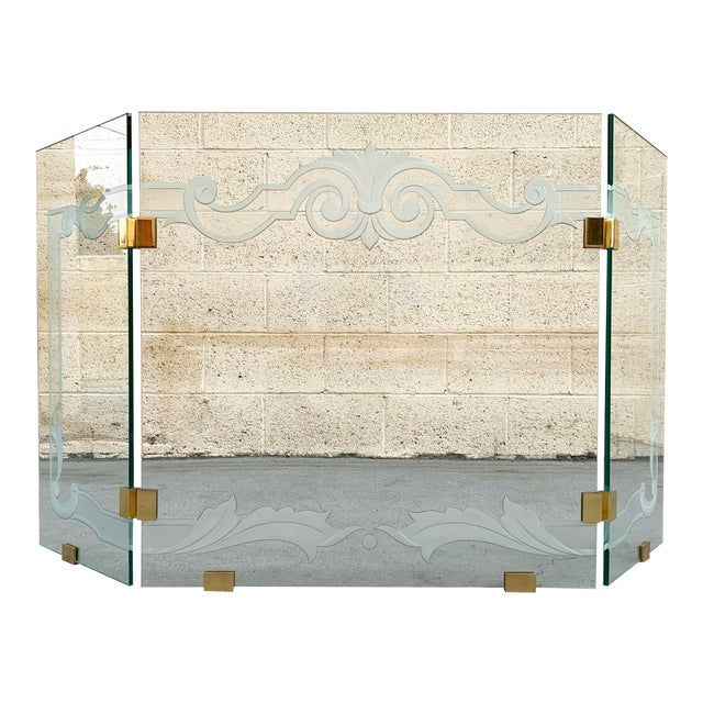 Glass Fireplace Screen With Brass Hinges by Danny Alessandro, Custom Etching For Sale