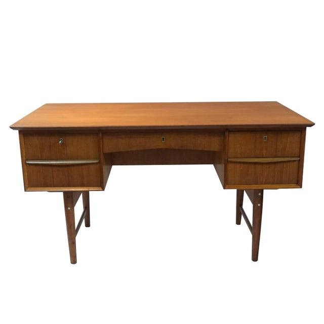 Danish Modern Dual Sided 5 Drawer Desk - Image 5 of 8