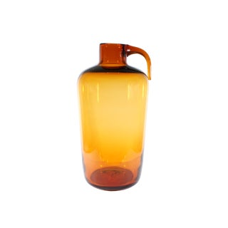 Indiana Glass Mid-Century Greenwich Flint Craft Amber Jug For Sale