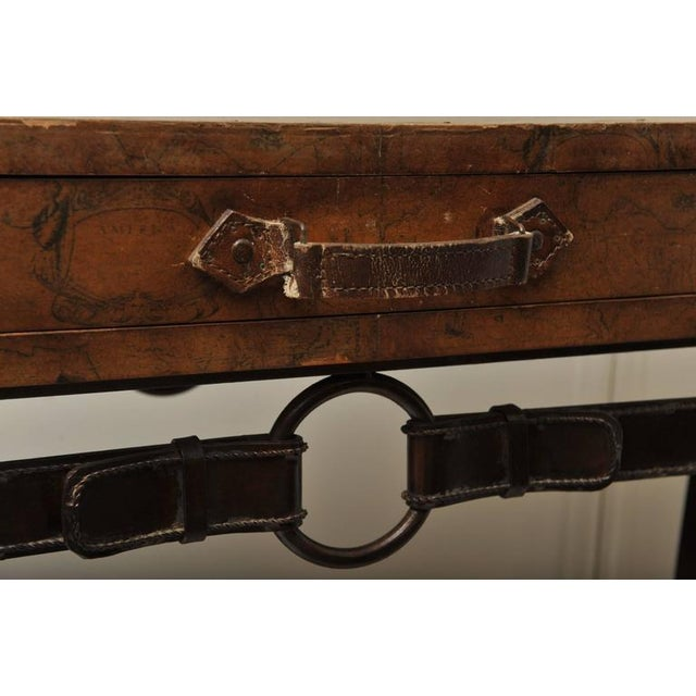 Animal Skin World Map Suitcase Table With Leather Straps and Buckles For Sale - Image 7 of 11