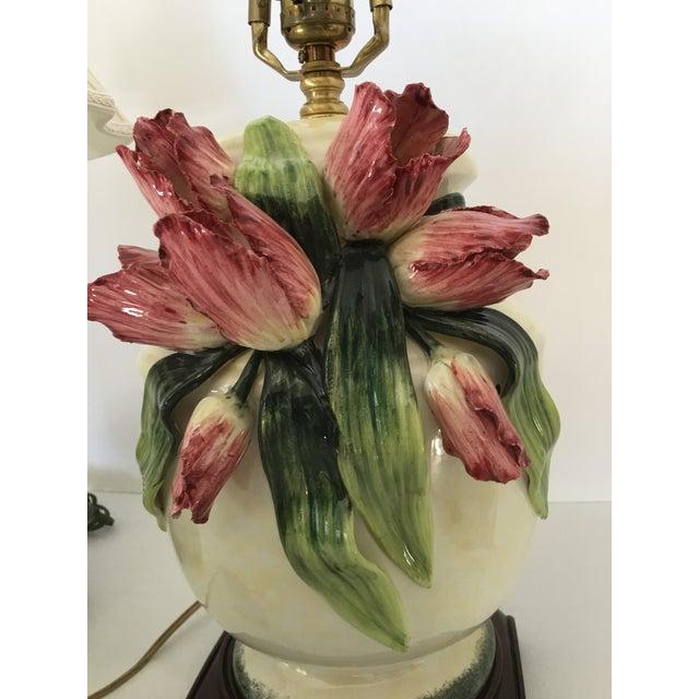 Anne Vosseller Porcelain Ginger Jar Parrot Tulip Barbotine Lamp - a Pair - Image 6 of 11
