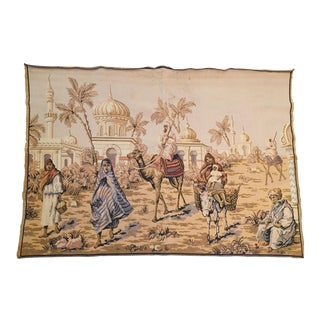 Large 19th Century Orientalist Scene and Moorish Architecture Tapestry For Sale