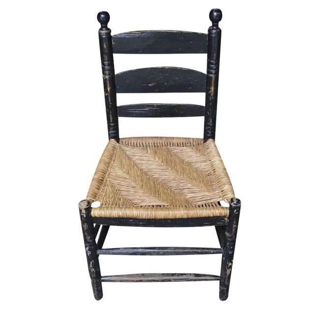 Antique Hand Hewn Rush Seat Chair For Sale