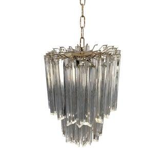 1960s Three-Tier Acrylic Venini Crystal Chandelier For Sale