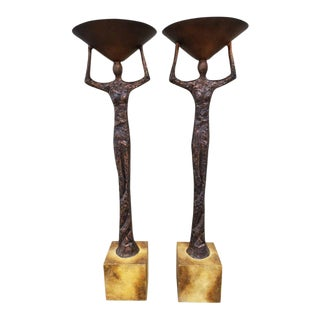 Alberto Giacometti Style Figural Floor Lamps - a Pair For Sale