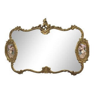 Antique Italian Rococo Gold Gilded Mirror For Sale