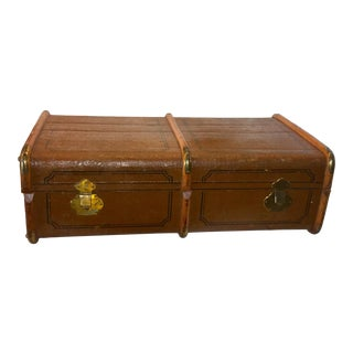 Vintage Canvas Over Wood English Trunk Brass Hardware For Sale
