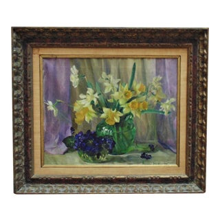 Vintage Mid-Century Daffodils & Violets Still Life Oil Painting For Sale