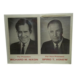 Vintage Nixon & Agnew Presidential Campaign Posters- Set of 2 For Sale