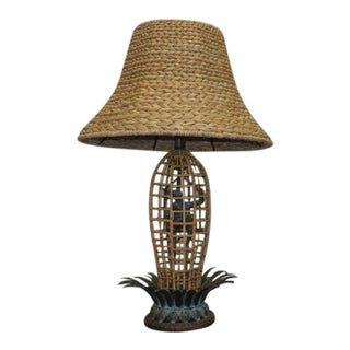 Maitland Smith Circus Monkey Bronze & Rattan Lamps For Sale