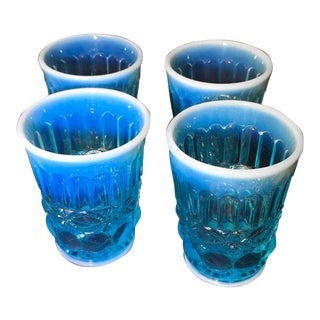 Early 20th Century Blue Opaline Optic Depression Glass Tumblers - Set of 4 For Sale