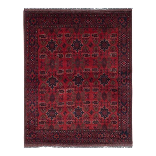 """Hand-Knotted Tribal Afghan Rug- 5'8"""" X 7'1"""" For Sale"""