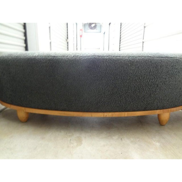 1950s Large Mid-Century Oval Bench Upholstered in Gray Shearling For Sale - Image 5 of 13