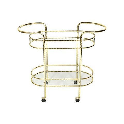 Mid-Century Modern 1960s Gilt Metal & Glass Bar Cart For Sale - Image 3 of 8