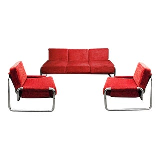 1970s Tubular Chrome Sofa and Armchair Set - Set of 3