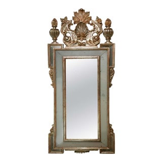 1930s Italian Carved Silver Gilt Mirror For Sale