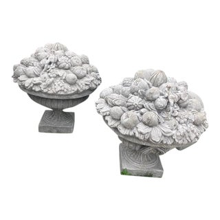 Large Cement Garden Ornaments With Fruit Motif - A Pair For Sale
