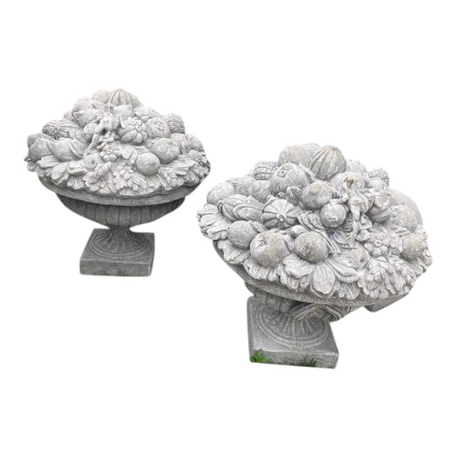 Large Cement Garden Ornaments With Fruit Motif -One Pair Available For Sale