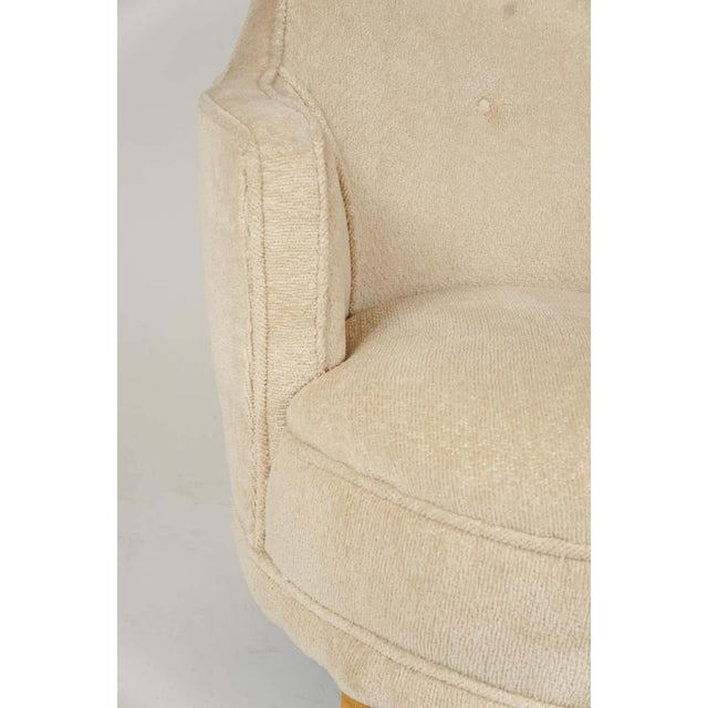 1940s Barrel Back Moderne Freshly Upholstered Lounge Chairs After Gilbert Rohde, Pair For Sale - Image 9 of 12