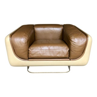 William Andrus Steelcase Fiberglass Club Chair Brown Leather Lucite Base - Mid Century Modern Space Age Furniture Living Room Set For Sale