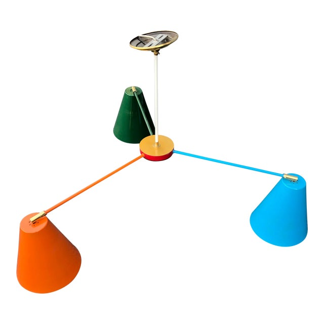 Orange Blue and Green Multicolor Ceiling Light For Sale