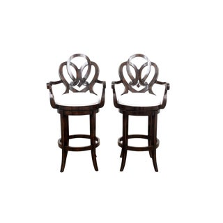 1990s Vintage Solid Mahogany Scroll Back Rotating Bar Stools- a Pair For Sale