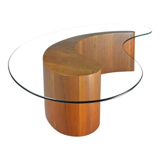 Walnut & Glass Apostrophe Table by Vladimir Kagan For Sale